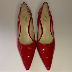 Pelle Moda Pointed Patent Red Heels Size 7.5